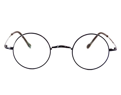 Agstum Pure Titanium Retro Round Prescription Eyeglasses Frame (Without Nose Pads) (Grey, - Potter Prescription Harry Type Glasses
