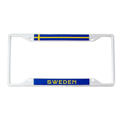 Desert Cactus Country of Sweden Flag License Plate Frame for Front Back of Car Vehicle Truck Swedish (Flag Country Sweden)