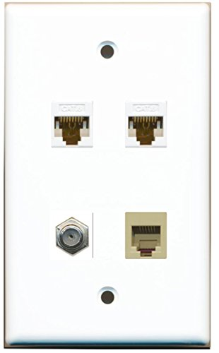 RiteAV 1 Port Coax Cable TV- F-Type and 1 Port Phone RJ11 RJ12 Beige 2 Port Cat6 Ethernet Wall Plate - White ()