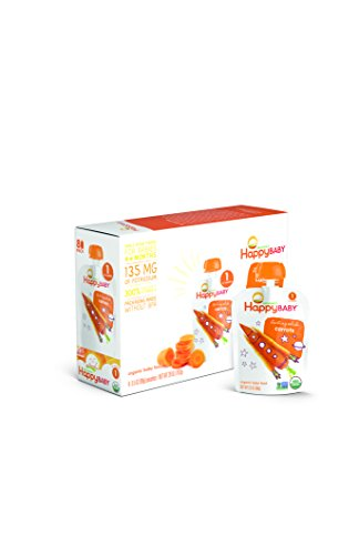 Happy Baby Organic Stage 1 Baby Food, Starting Solids, Carrots, 3.5 oz (Pack of 8)