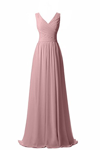 Chiffon Long Gown - Ever Girl Women's Bridesmaid Chiffon Prom Dresses Long Evening Gowns Blush V14