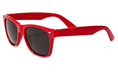 Kids Childrens 80's Classic Vintage Retro Wayfarer Style Sunglasses - (Red) ()