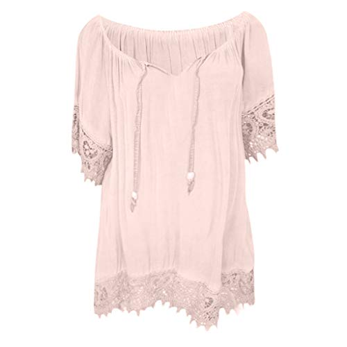 (Short Sleeve Tee Blouse for Women,Amiley Womens Lace Trim Patchwork Short Sleeve Tops Drawstring V-Neck Blouses Shirts S-5XL (2XL,)