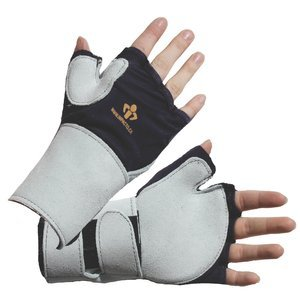 L Blue/Gray Right Hand Suede Leather Wrist Support Fingerless Anti-Vibration Glove