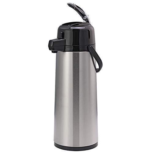 Service Ideas ECAL25S Eco-Air Lever Lid Airpot, Glass Vacuum, 2.5 Liter (84.5 oz.), Brushed Stainless/Black Accents