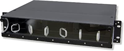 Lynn Electronics 2U Fiber Optic Rackmount Enclosure Panel, holds 6 LGX footprint panels or modules for a maximum capacity of 144 fibers. Fits 19 and 23 inch racks.