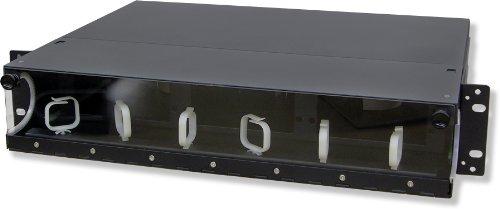 Lynn Electronics 2U Fiber Optic Rackmount Enclosure Panel, holds 6 LGX footprint panels or modules for a maximum capacity of 144 fibers. Fits 19 and 23 inch racks.