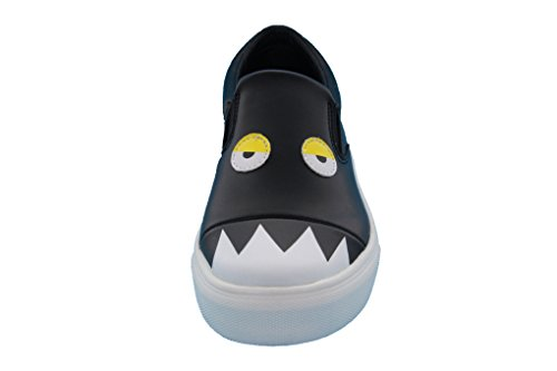 Product image of Girls, Boys (Little Kid/Big Kid) Black/Red Monster Slip-On Leather Fashion Sneakers