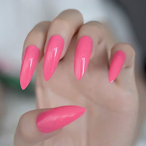 Amazon.com : 24Pcs Pure Rose Red STILTTO Candy Nails Extra Long Sharp Easy DIY False Fake Nail Women Wear Manicure Accessories Kit Z933 Z753 : Beauty