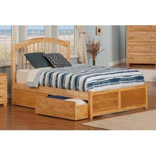 - Atlantic Furniture Windsor Flat Panel Footboard with Bed Drawers, Queen, Natural