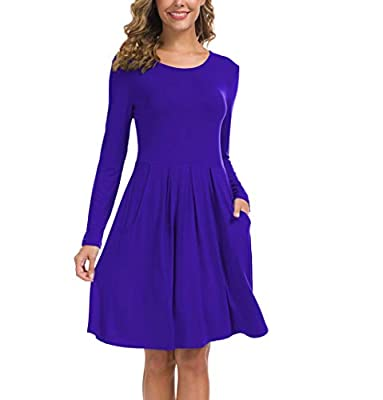 KORSIS Women's Long Sleeve Pleated Loose Swing Casual Dress with Pockets