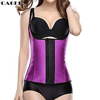 0d4a9089d Thin Straps Latex Core Corset Workout Bodyshaper Hook Eyes Basque Vest with  Bra-Straps Plus Size XS-6XL Sporting Shapewear Color Purple Size 6XL   Amazon.in  ...