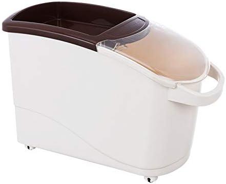 米びつ 保存容器 ホイールのためにキッチン付きの12.5キロライス保存容器プラスチック台所ライスボックス封印された穀物穀物オーガナイザー 米粉シリアルキッチン収納用 (Color : Green, Size : Free)