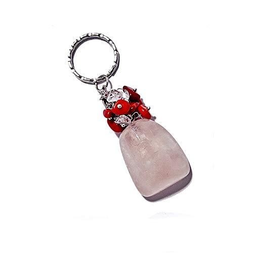 Llavero único de Piedra de Cuarzo Rosa con lascas de Coral y ...