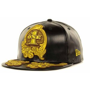 - Jeremy Scott One Dollar Bill Faux Leather 59Fifty Fitted Cap Hat (Black, 7 1/4)