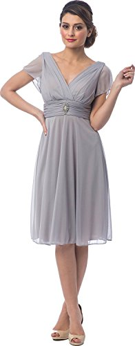 I Dream Dresses Short Sleeve Knee-Length Bridesmaid Mother of the Bride Dress US12 Silver