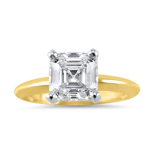 - Asscher Forever ONE moissanite engagement ring 14k Yellow Gold solitaire