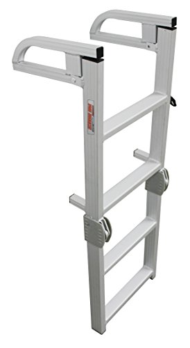 - Extreme Max 3005.4089 Aluminum 4-Step Compact Folding Pontoon Boarding Ladder
