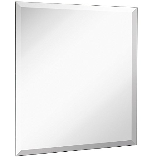 Large Simple Square Mirror with 1 Inch Bevel | Frameless 24 Inch Mirror With Silver Backed Mirrored Glass Panel | Best for Wall in Vanity, Bedroom, or Bathroom (24'' x 24'') by Hamilton Hills