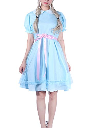 ROLECOS Lolita Dress Blue Chiffon Dress Puff Sleeve Halloween Party Cosplay Costume (M, Adult-blueA)
