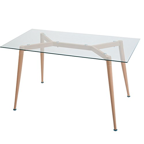 Merax Contemporary Rectangular Dining Table with Tempered Glass Top and Metal Legs (Glass Top Rectangular Dining Table)