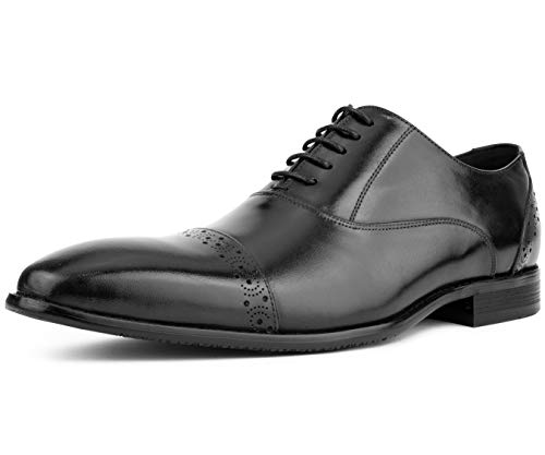 Asher Green Men's Genuine Leather Cap Toe Bal Oxford Dress Shoe with Classic Look and Fancy Perforated Details Style AG328 Black
