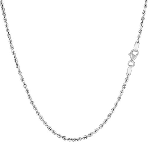 14K Yellow or White Or Rose/Pink Gold 1.50mm Shiny Diamond-Cut Royal Rope Chain Necklace for Pendants and Charms with Lobster-Claw Clasp (7