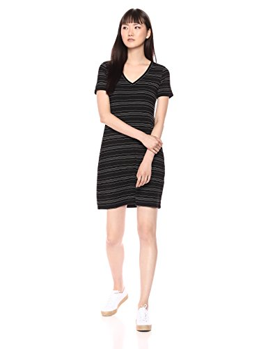 (Daily Ritual Women's Jersey Short-Sleeve V-Neck T-Shirt Dress, Black Stripe,)