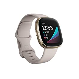 Fitbit Sense Advanced Smartwatch with Tools for Heart Health, Stress Management & Skin Temperature Trends, White/Gold…
