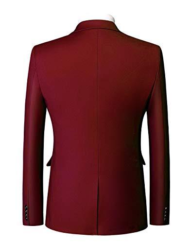gilet Mariage Veste Mogu Costume Deux Affaires Couleur Unie Homme Bouton De pantalon Vin Rouge ASvAFw