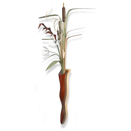 Wood Wildflowers Cattails & Wetland Foliage Wall Vase Arrangement, American Made Woodwork