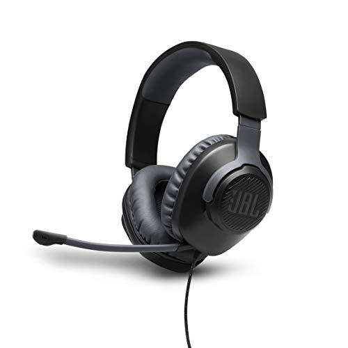 JBL Quantum 100 Wired Over-Ear Gaming Headset with Boom Mic, PC and Console Compatible, in Black