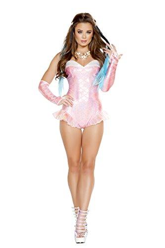 1 Piece Mermaid Sea Siren Pink Iridescent Romper Party Costume -