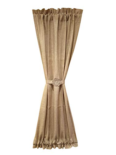 (AT Primitive Country Burlap Rose and Ruffle French Door Panel Curtain)