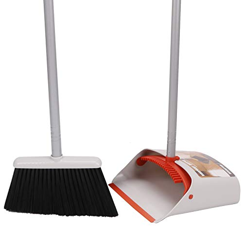 TREELEN Broom Dustpan, Dust Pan Broom Combo Long Handle Upright Sweep Lobby,Office, House, Kitchen,40.5