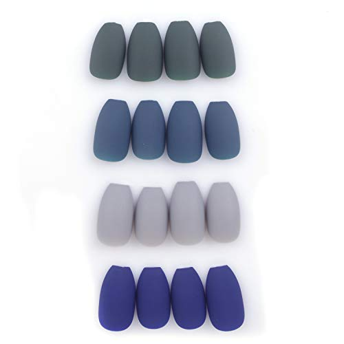 Siusio 96 Pcs Colorful Fake Nails, 4 Pack Olive Sapphire Misty Grey Full Cover Coffin Medium Ballet Matte Artificial Acrylic Nails - Peacock Blue [No Glue Included]