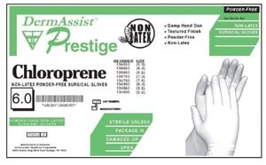Innovative Healthcare 134850 DermAssist PRESTIGE Series 134 Powder-Free Chloroprene Sterile Surgical Glove, Size 8.5, Clear (Pack of 100)