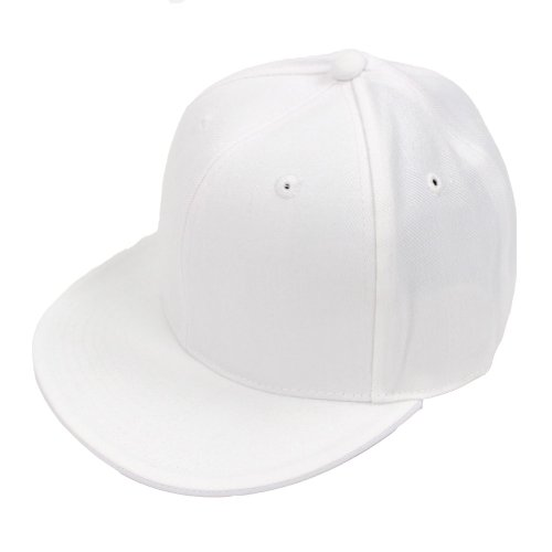 DECKY Men's Fitted Baseball Hat Cap Flat Bill Blank-7 5/8-White