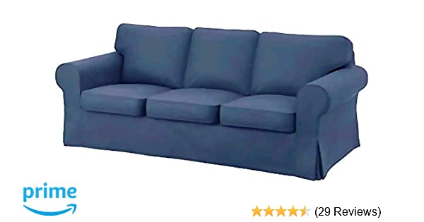 The Heavy Cotton Ektorp 3 Seat Sofa Cover Replacement is Custom Made for IKEA Ektorp Sofa Cover, an Ektorp Sofa Slipcover Replacement (Deep Blue)