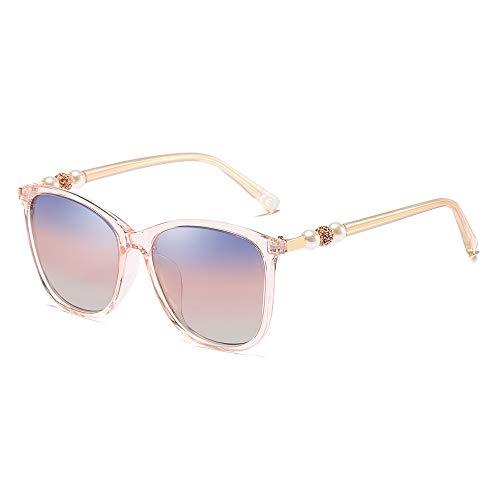 (BLEVET Classic Oversized Polarized Women Sunglasses UV400 Pearl Eyeglasses BL062 (Pink Frame Blue & Red Lens))