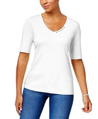 Karen Scott Women's Elbow-Sleeve Cotton Top Bright White Medium from Karen Scott