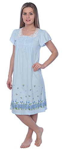 Womens Floral Print Cotton Nightgown