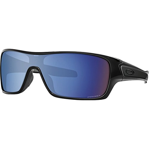 Oakley Men's Turbine Rotor Polarized Iridium Rectangular Sunglasses, Polished Black w/Prizm Deep Water Polarized, 132 - Water Rotor
