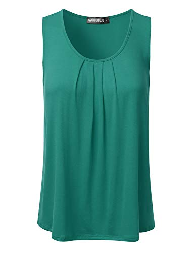 (DRESSIS Women's Basic Soft Pleated Scoop Neck Sleeveless Loose Fit Tank Top TEAL 2XL)