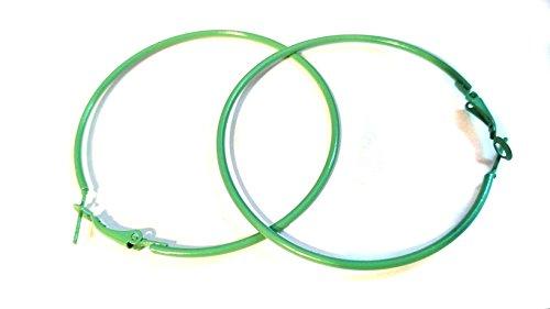 Color Hoop Earrings Simple Thin Hoop Earrings 2.25 inch Hoops Assorted (Green)