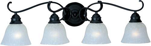 Maxim Lighting 11811ICBK Linda - Four Light Bath Vanity, Black Finish with Ice Glass