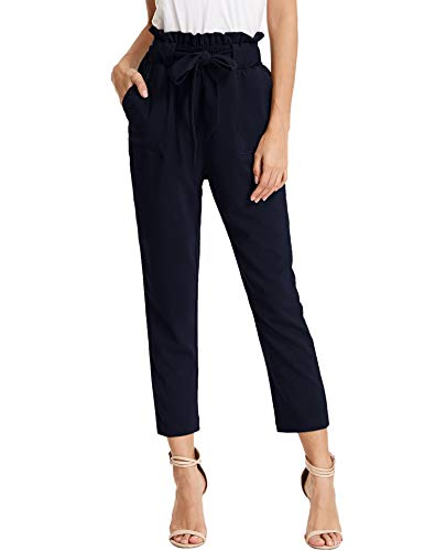 KANCY KOLE Women's Casual Paperbag Trouser High Waist Slim Cropped Ankle Pants with Bow Knot (Navy,S)