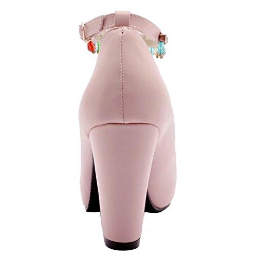 AIYOUMEI Damen Knöchelriemchen Pumps mit Schnalle und Strass Bequem Blockabsatz Schuhe Rosa