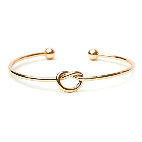 Hanloud Stretch Love Knot Cuff Bracelet Bridesmaids Gift Infinity Ball End Bangle for Women