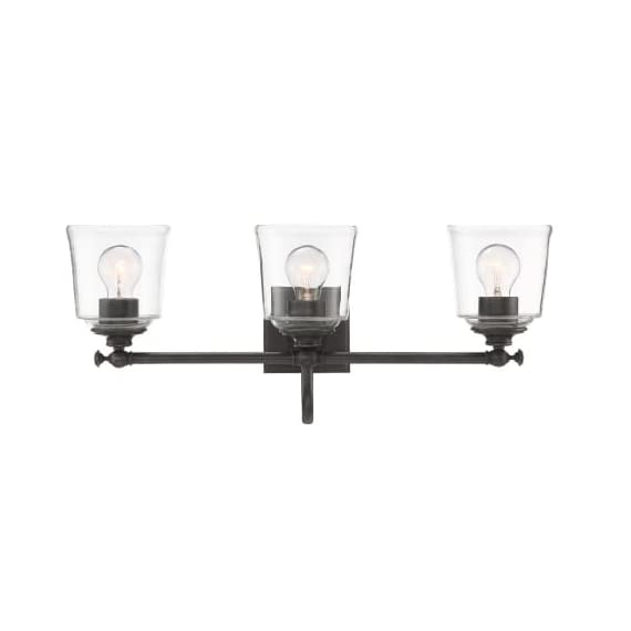 "Park Harbor PHVL3013PN Antonia 3 Light 25-1/4"" Wide Bathroom Vanity Light with Clear Glass Shades - Constructed from steel Comes with clear glass shades Requires (3) 33.33 watt medium (E26) bulbs - bathroom-lights, bathroom-fixtures-hardware, bathroom - 313jLAcdTRL. SS570  -"